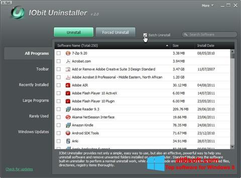 Posnetek zaslona IObit Uninstaller Windows 8