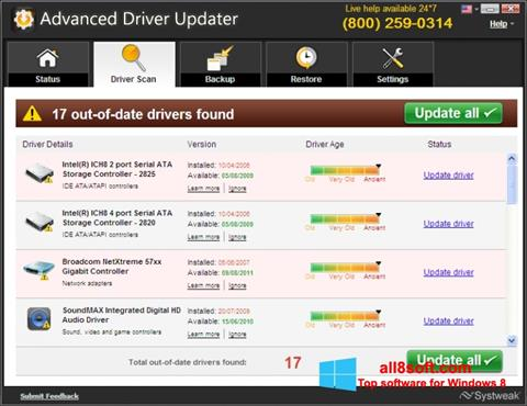 Posnetek zaslona Advanced Driver Updater Windows 8
