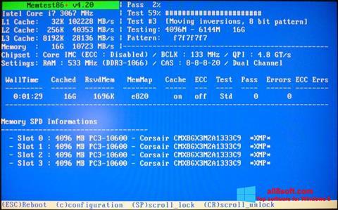Posnetek zaslona MemTest Windows 8