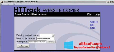 Posnetek zaslona HTTrack Website Copier Windows 8