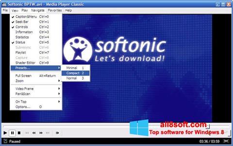Posnetek zaslona Media Player Classic Windows 8