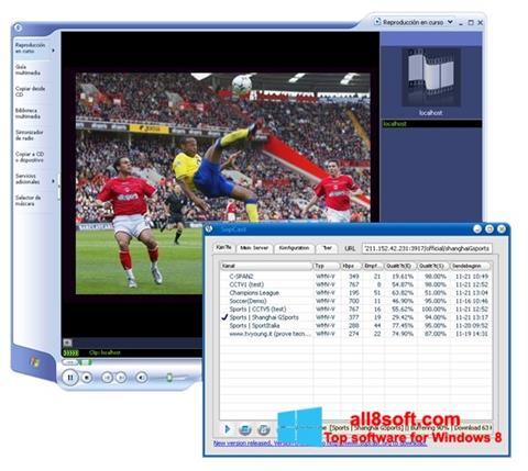 Posnetek zaslona SopCast Windows 8