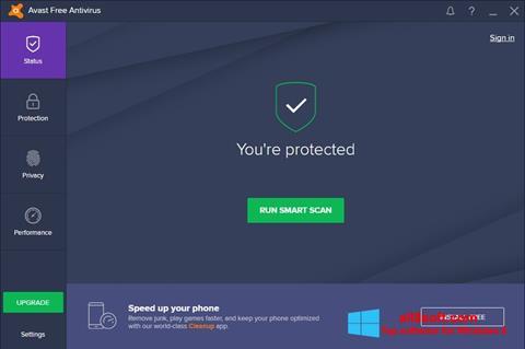 Posnetek zaslona Avast Free Antivirus Windows 8