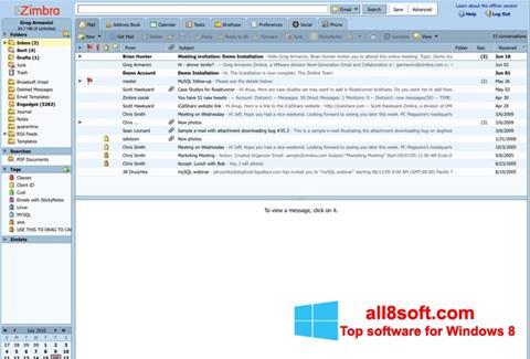 Posnetek zaslona Zimbra Desktop Windows 8