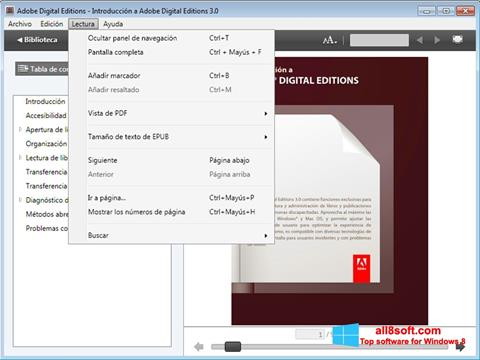 Posnetek zaslona Adobe Digital Editions Windows 8