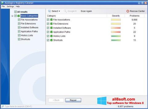 Posnetek zaslona Auslogics Registry Cleaner Windows 8