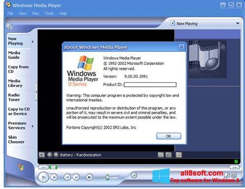 Posnetek zaslona Windows Media Player Windows 8