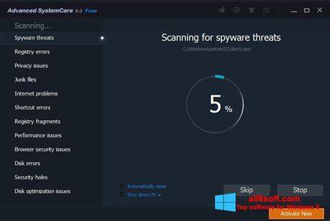 Posnetek zaslona Advanced SystemCare Pro Windows 8