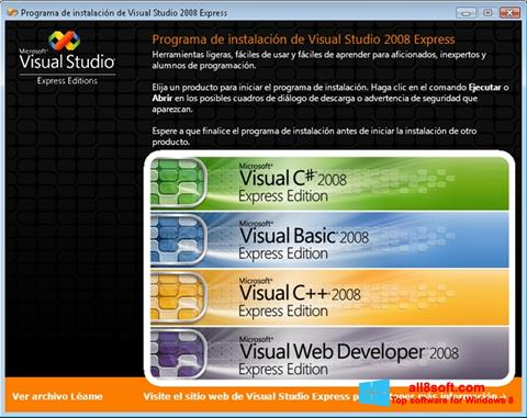 Posnetek zaslona Microsoft Visual Studio Windows 8