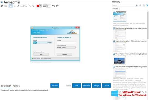 Posnetek zaslona AeroAdmin Windows 8