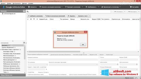 Posnetek zaslona AdWords Editor Windows 8